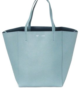Céline Phantom Leather. Cabas Tote in Antique Blue