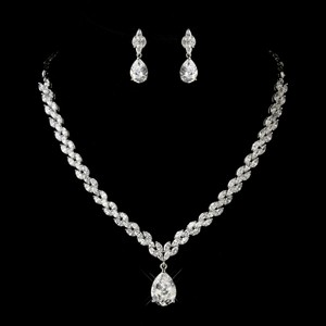 Elegance By Carbonneau Glamorous Cz Teardrop Wedding Jewelry Set