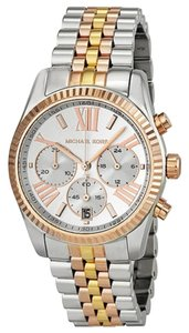 Michael Kors Tri Tone Silver Gold and Rose Gold Stainess Steel Designer Dress Watch