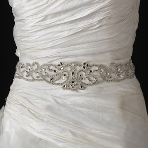 Elegance By Carbonneau Glitzy Rhinestone Swirl Ivory Wedding Dress Belt Sash