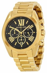 Michael Kors Gold tone Stainless Steel Black Dial Oversized Unisex Designer Watch