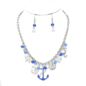Other Nautical Anchor Sealife Charm Necklace Set