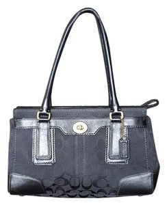 Coach Satchel in Black Canvas with Black Leather Trim