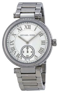 Michael Kors Silver tone Stainless Steel Crystal Pave Bezel Designer Ladies Dress Watch