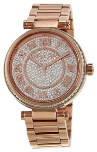 Michael Kors Crystal Pave Dial Rose Gold Stainless Steel Luxury Designer Ladies Dress Watch