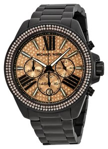 Michael Kors Black Ion Plated Rose Gold Crystal Pave Stainless Stel Ladies Designer Watch
