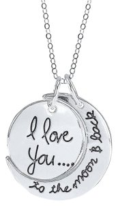 Genuine 925 sterling silver I Love You to the Moon and Back Pendant Necklace