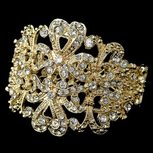 Elegance By Carbonneau Light Gold Plated Ornate Wedding Cuff Bracelet