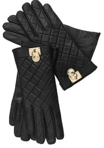 Michael Kors NWT MICHAEL KORS QUILTED LEATHER HAMILTON LOCK GLOVES TECH FREINDLY M