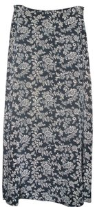 Ralph Lauren Silk Maxi Skirt Navy Blue/Cream Floral