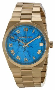 Michael Kors Blue Dial Gold tone Stainless Steel Designer Casual Ladies Watch