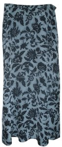 Jones New York Silk Maxi Maxi Skirt Navy Blue/Light Blue Floral
