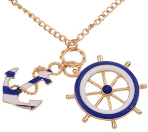 Nautical Ship Stern Anchor Necklace Gold Tone Navy White J2223