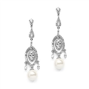 Glam A A A Crystals & Pearl Drop Bridal Earrings