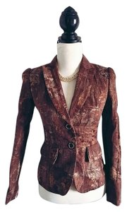 Antonio Melani Texture Lined Fitted Structure Pleated Brown Blazer