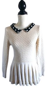 Rare Knit Peter Pan Collar Top Ivory