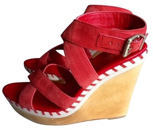 Vince Camuto Monogram Red Wedges