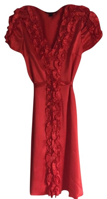 Item - Red Silk Mid-length Night Out Dress Size 8 (M)