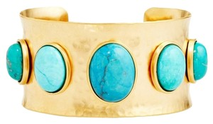 Other Turquoise Cabochons Hammered Gold Plated Overlay Cuff