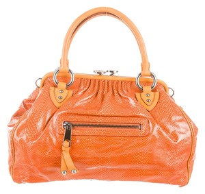 Marc Jacobs Mj Stam Snake Snakesmbossed Satchel in orange