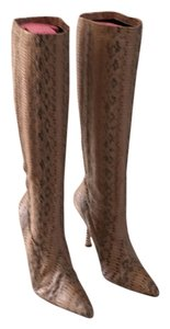 Manolo Blahnik Warm nude with Gray Boots