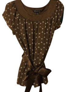 INC International Concepts Polka Dot Silk Tie Belted Shortsleeve Top Brown
