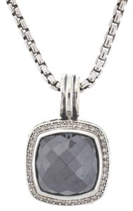 David Yurman DAVID YURMAN Sterling Silver Hematine & Diamonds Pendant on Chain Necklace