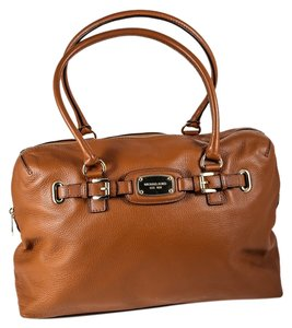 Michael Kors Goldtone Hardware Pebbled Leather Oversized Tote in Brown