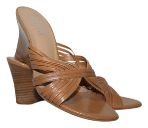 Franco Sarto Size 6 Leather Tan Wedges