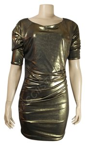 Rachel Roy Metallic Gold Gold Color Nightclub Dress