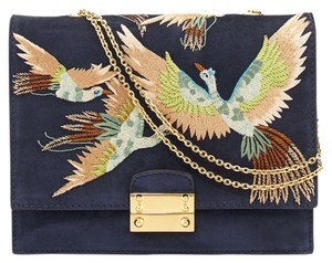 Valentino Clutch Runway Embroidered Marine Shoulder Bag