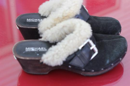 Michael Kors Black Suede Fur lined with Silver Hardware Mules