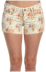 Paige Premium Denim Floral Summer Cut Off Shorts Cream Multi
