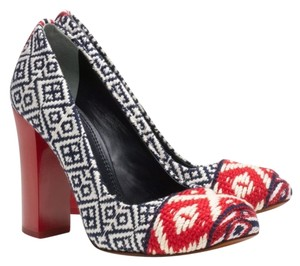 Tory Burch Heels Wool Chunky Block Navy Blue Red Pumps