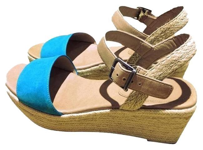 Item - Ocean Blue Clasp Espandrille Leather Wedges Size US 8
