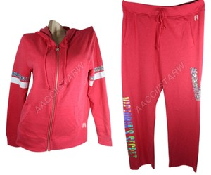 Victoria's Secret VICTORIAS SECRET RED CHERRY SEQUIN HOODIE & BOYFREND PANTS SET SIZE M