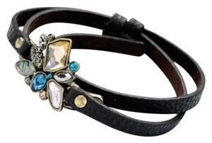 Other New Black Faux Leather & Blue Hue Crystal Wrap Bracelet