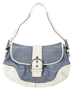 Coach Soho Leather/canvas Flap Over Buckle Shoulder Bag