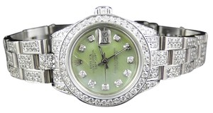 Rolex Ladies Stainless Steel Rolex Datejust Oyster Watch Ct Diamond Green Mop Dial