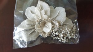 David's Bridal Headpiece White Felt Flower with Pearls and Crystals Hair Accessory