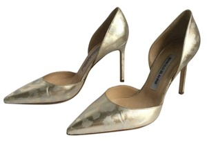 Manolo Blahnik D'orsay Metallic New Never Worn GOLD Pumps