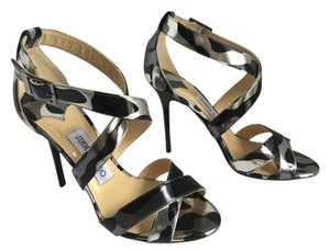 Jimmy Choo Lottie Leopard Print New Never Worn BLACK / SILVER Sandals