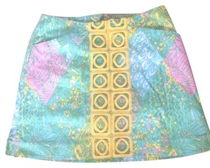 Lilly Pulitzer Skort Bright Mini Skirt Green blue, yellow and white