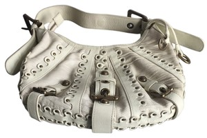 Isabella Fiore Leather Buckles Studded Hobo Bag