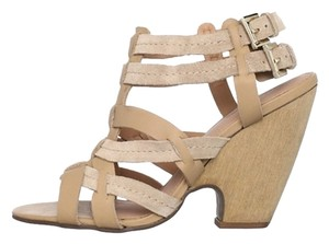 Madison Harding Leather Suede Wedge Nude Sandals