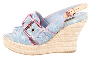 Louis Vuitton Denim Espadrille Lv Monogram Beige, Blue Wedges