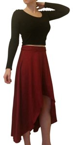 ANGL High-low Fancy Night Out Date Night Maxi Skirt Wine, Marsala, Maroon