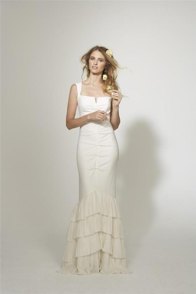 Nicole Miller Bridal Antique White Silk Camilla Ed Pleated Skirt Gown Hg0022 Feminine Wedding Dress Size
