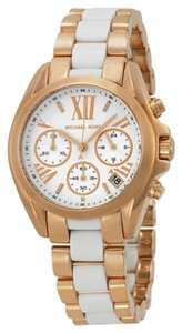 Michael Kors Rose Gold Stainless Steel White Acetate Designer ladies Watch