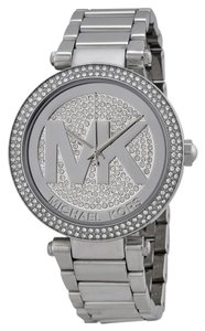 Michael Kors Silver tone Stainless Steel Crystal and MK Logo Dial Designer Ladies Watch